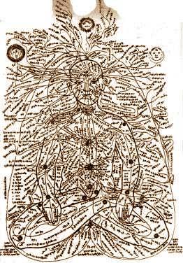 Энергетические каналы в теле человека (средневековый индийский рисунок)